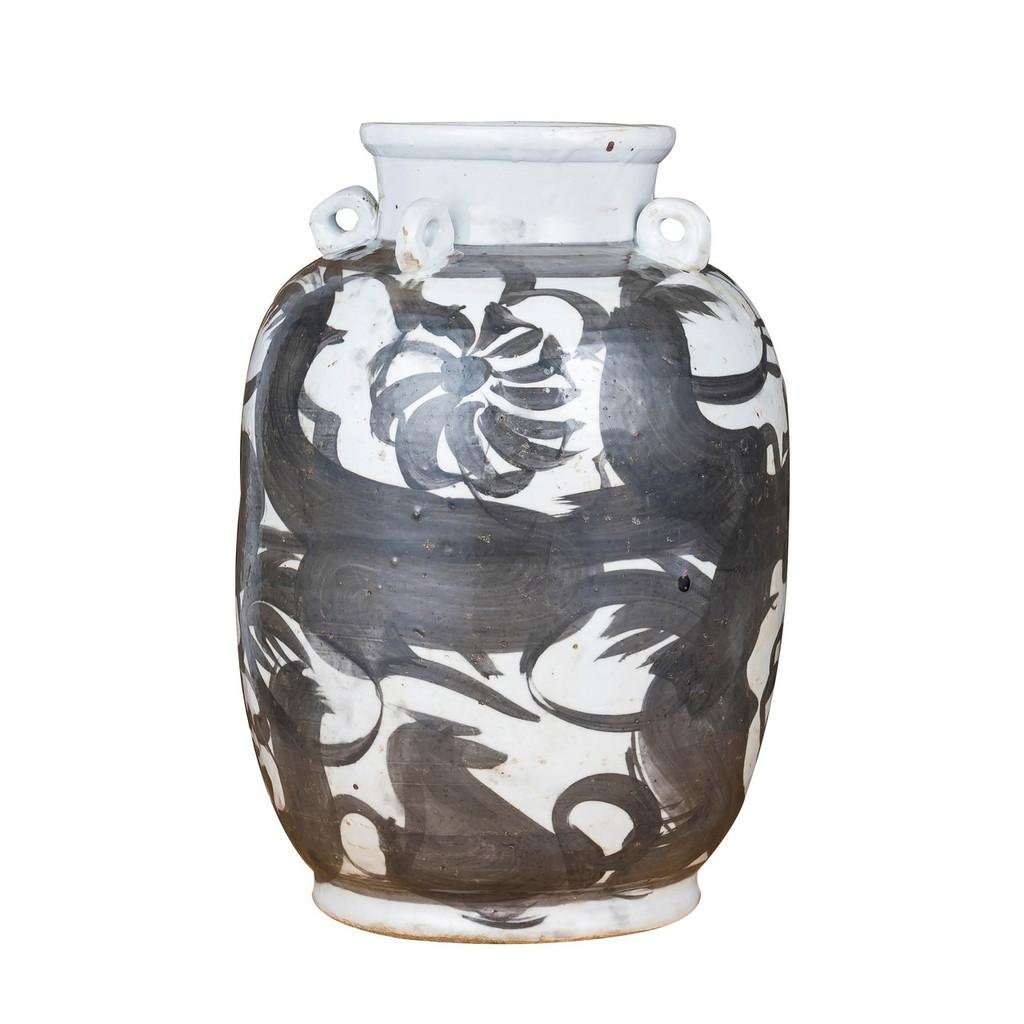 Black Four Loop Handle Jar Twisted Flower Motif