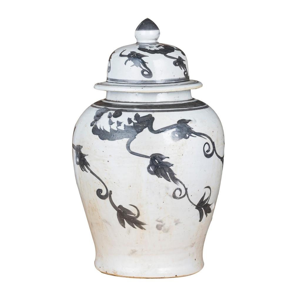 Black Temple Jar Vine Motif