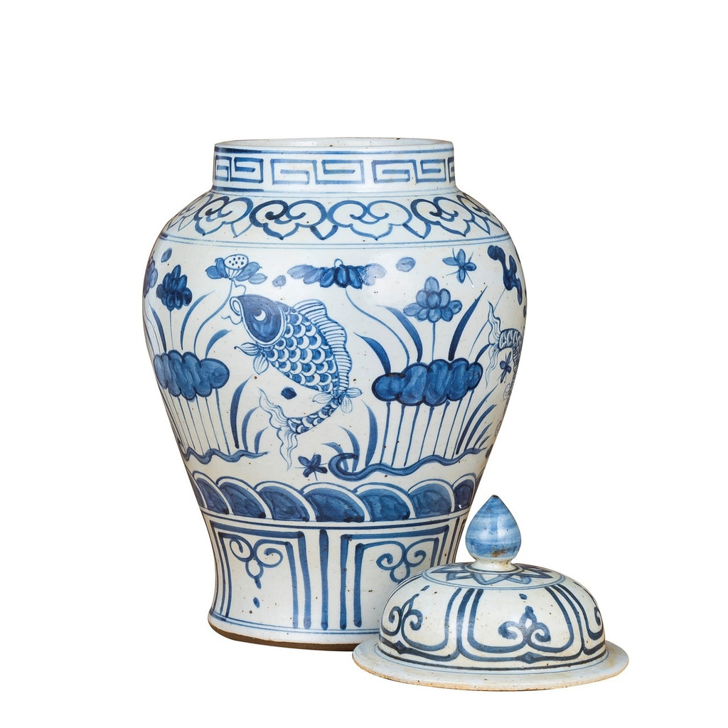 Blue And White Small Porcelain Temple Jar Fish Lotus Motif