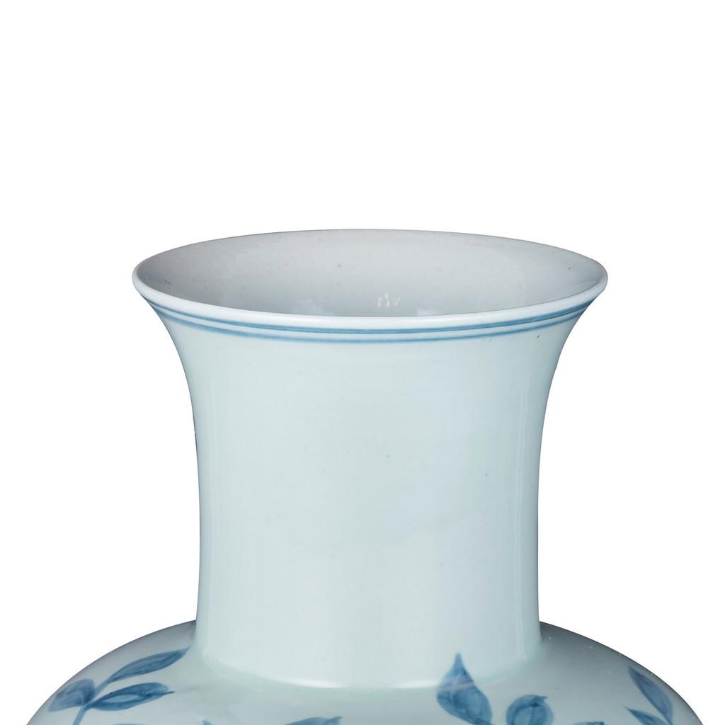 Blue And White Fairy Vase Pheasant Flower Motif
