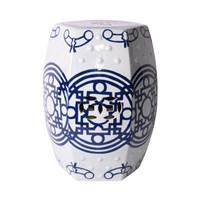 Blue & White Pattern of Lines Hexagonal Stool
