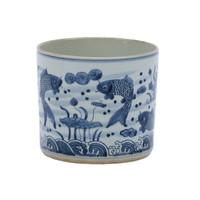 Blue & White Fish Orchid Pot