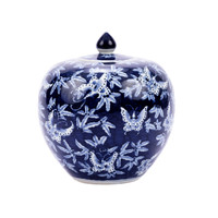 Blue & White Butterfly Melon Jar