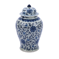 Blue & White Twisted Lotus Temple Jar