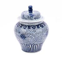 Blue & White Curly Vine Lidded Jar