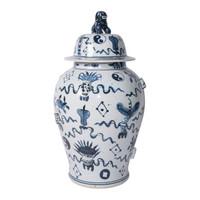 Blue & White Antique Symbol Temple Jar