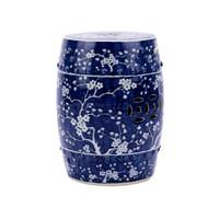Blue & White Garden Stool Plum Blossom Motif