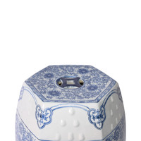 Blue & White Hexagonal Lotus Stool