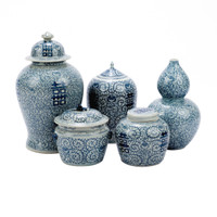 Blue & White Double Happiness Floral Temple Jar