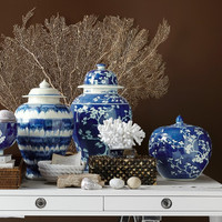 Blue & White Plum Tree Temple Jar