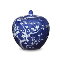 Blue & White Plum Melon Jar
