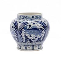 Blue & White Open Top Fish Jar