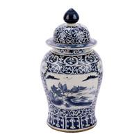 Blue & White Porcelain Dynasty Temple Jar Floral Landscape Medallion