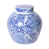 Blue And White Blooming Flowers Porcelain Ancestor Jar