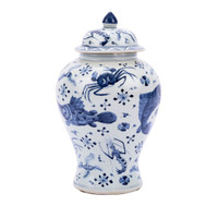 Blue & White Porcelain Fish Shrimp & Crab Ginger Jar