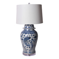 Blue And White Fish Temple Jar Table Lamp
