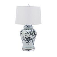 Blue And White Porcelain Magpie On Treetop Temple Jar Lamp
