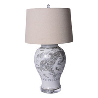 Hong Wu Dragon Jar Table Lamp - Brown Shade