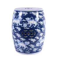 Blue Porcelain Garden Stool With White Lion Motif