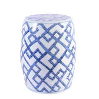 Blue and White Bamboo Joints Porcelain Garden Stool