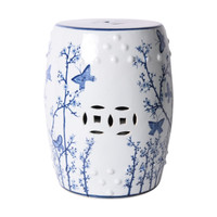 Blue and White Butterfly Plum Porcelain Garden Stool