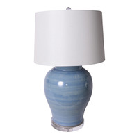 Light Blue Open Mouth Porcelain Jar Lamp - 2 Sizes