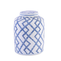 Blue and White Bamboo Joints Round Tea Porcelain Jar Small