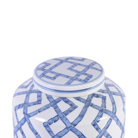 Blue and White Bamboo Joints Round Tea Porcelain Jar