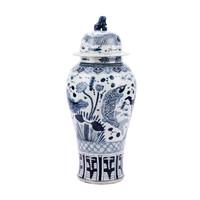 Blue & White Fish Temple Porcelain Jar Lion Lid - XL