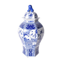 Blue & White Hexagonal Floral Bird Medallion Temple Porcelain Jar