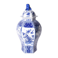 Blue & White Hexagonal Floral Bird Medallion Temple Jar