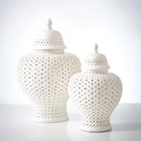 White Lattice Ginger Porcelain Jar With Lid