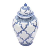 Blue & White Greek Key Grids Heaven Porcelain Jar