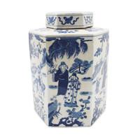 Blue & White Hex Tea Porcelain Jar Ancient People