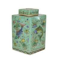 Green Square Tea Porcelain Jar Fish Motif
