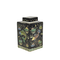 Black Square Tea Porcelain Jar Fish Motif