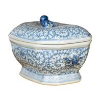 Blue & White Hex Fruit Porcelain Jar Floral Motif