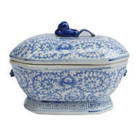 Blue & White Hex Fruit Porcelain Jar Floral Motif