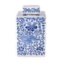Blue & White Lion Floral Square Tea Porcelain Jar