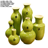 Set of 6 Assorted Vases - Lime Green
