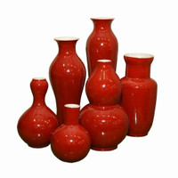 Set of 6 Assorted Vases - Cinnabar Red