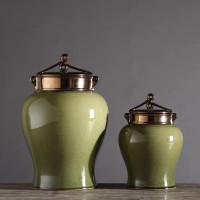 Green Crackle Porcelain Jar With Bronze Glaze Lid - 2 Sizes