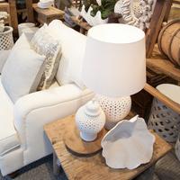 White Lattice Porcelain Table Lamp - 2 Sizes