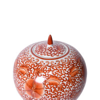 Coral Red Twisted Lotus Melon Jar