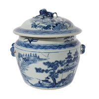 Blue And White Rice Jar Landscape Motif