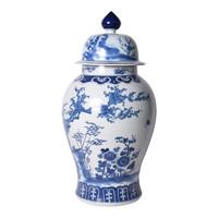 Blue & White Porcelain Four Season Plants Large Temple Jar