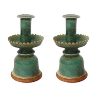Pair of Speckled Green Candle Holders