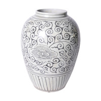 Black Peony Open Mouth Porcelain Urn
