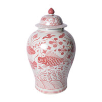 Coral Red Fish Temple Jar