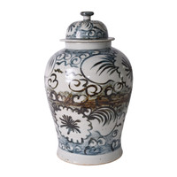 Blue And White Sea Flower Temple Jar - 2 Sizes
